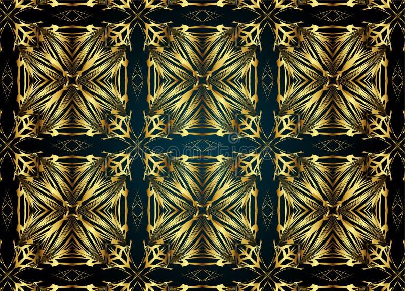 Golden and Dark vintage pattern. stock illustration