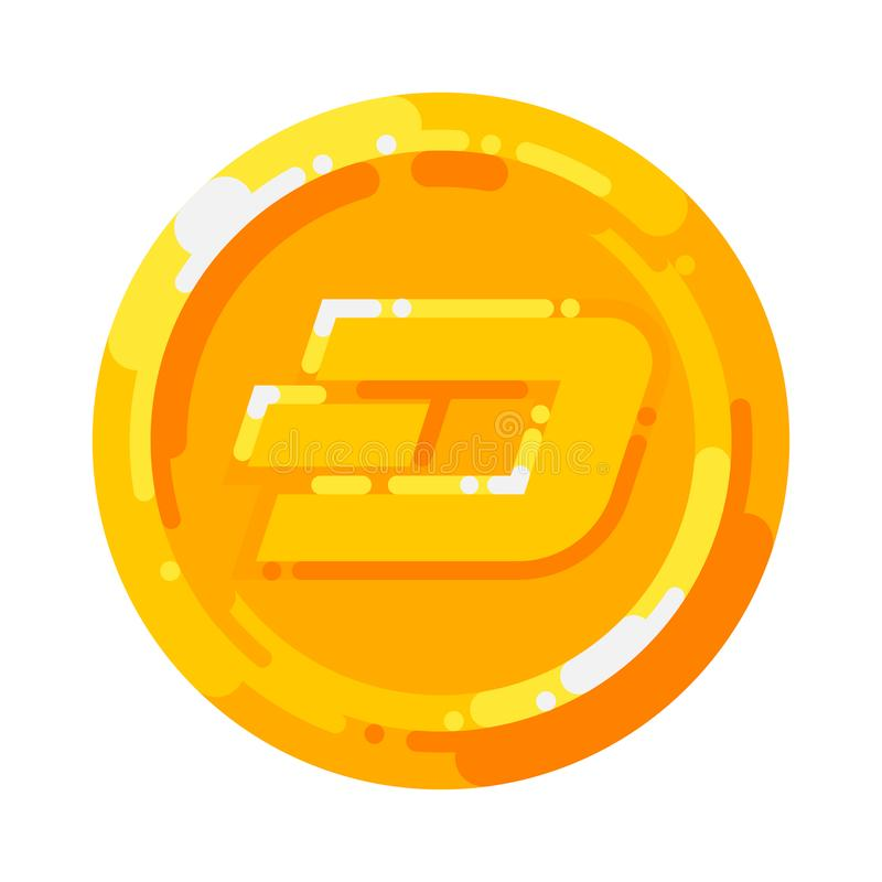 Golden Dash coin crypto currency blockchain symbol isolated on white background. Vector royalty free illustration