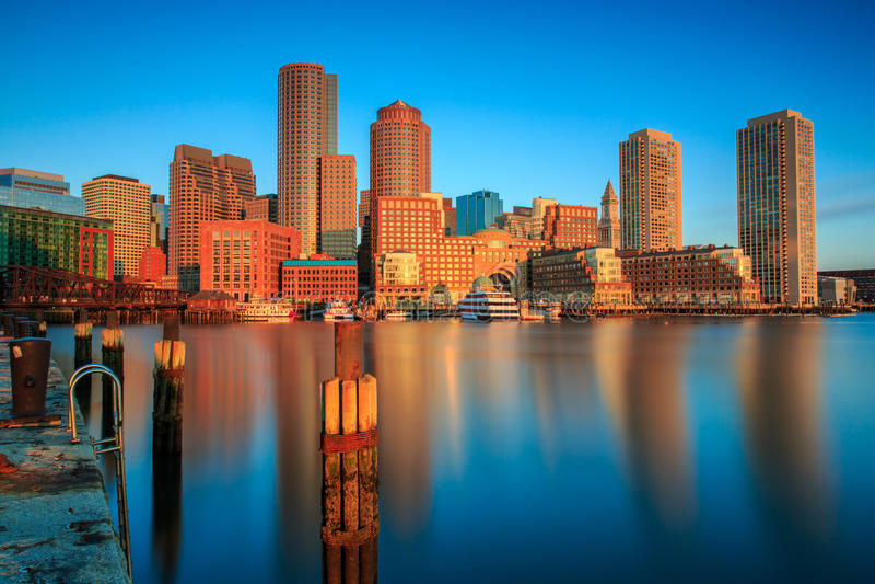 Golden dawn light on Boston skyline royalty free stock images