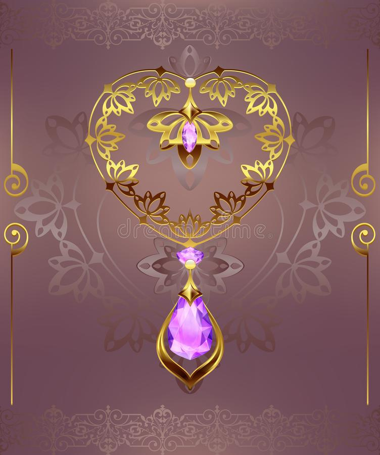 Golden decor heart with jewelry pebbles diamonds on a floral background with art deco ornament royalty free illustration