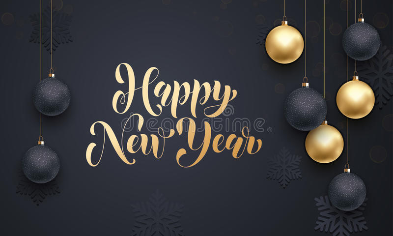 Golden decoration ball ornament Happy New Year holiday greeting. Premium luxury New Year background for holiday greeting card. Golden decoration ornament with stock illustration