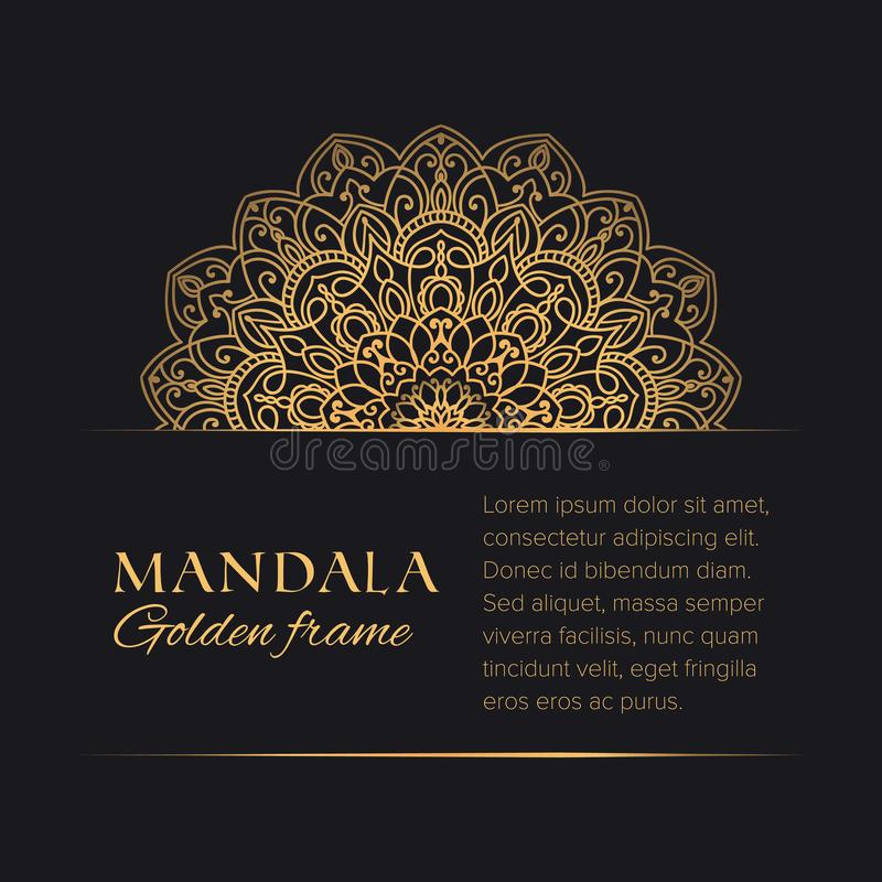 Golden decorative graphic element on black background. Premium horizontal template with sample text. Mandala vector round border luxury design. Golden decorative vector illustration