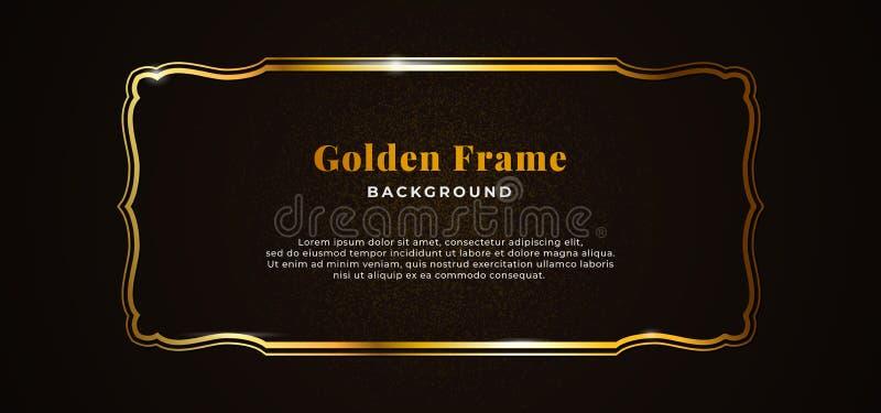 Golden decorative sparkling frame with gold glitter on dark black paper board background vector illustration. elegant banner. Template design. eps 10 stock illustration
