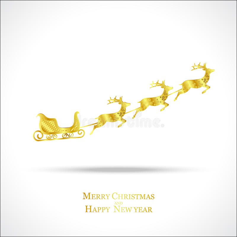 Golden deer with sleigh stock photography