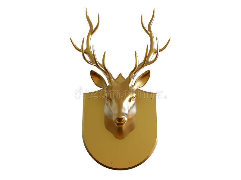 Golden deer trophy vector illustration