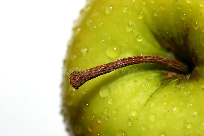 Golden Delicious With  Water Drops Stock Photo