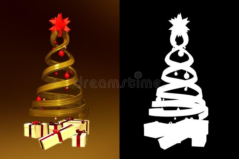 Download Golden Design Pine And Some Gifts Stock Illustration - Illustration: 21871722