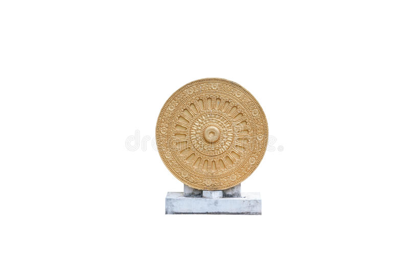 Golden Dharmachakra/ Wheel of Life, Dhamma Symbol in Buddhism, Isolated royalty free stock photography
