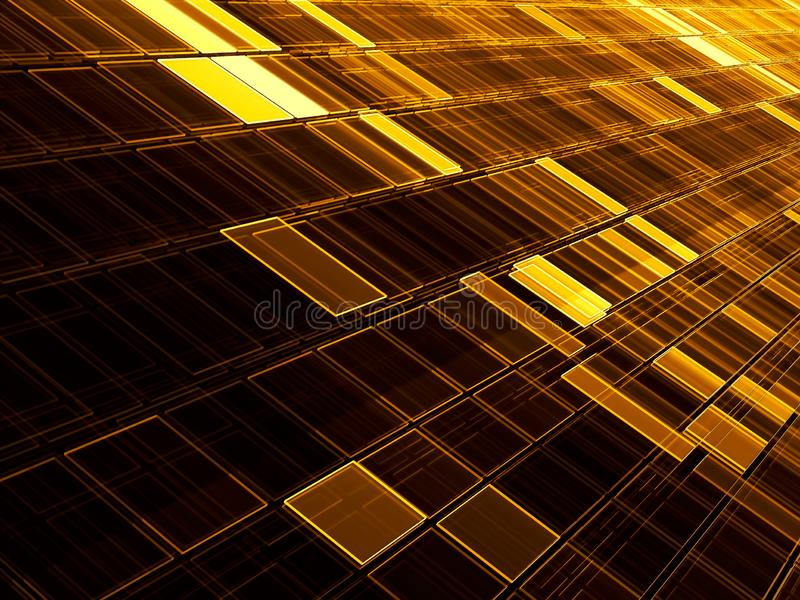 Golden diagonal tiles - technology background. Abstract computer-generated image - fractal. Bright tech style backdrop for desktop. Wallpaper, covers, web stock images