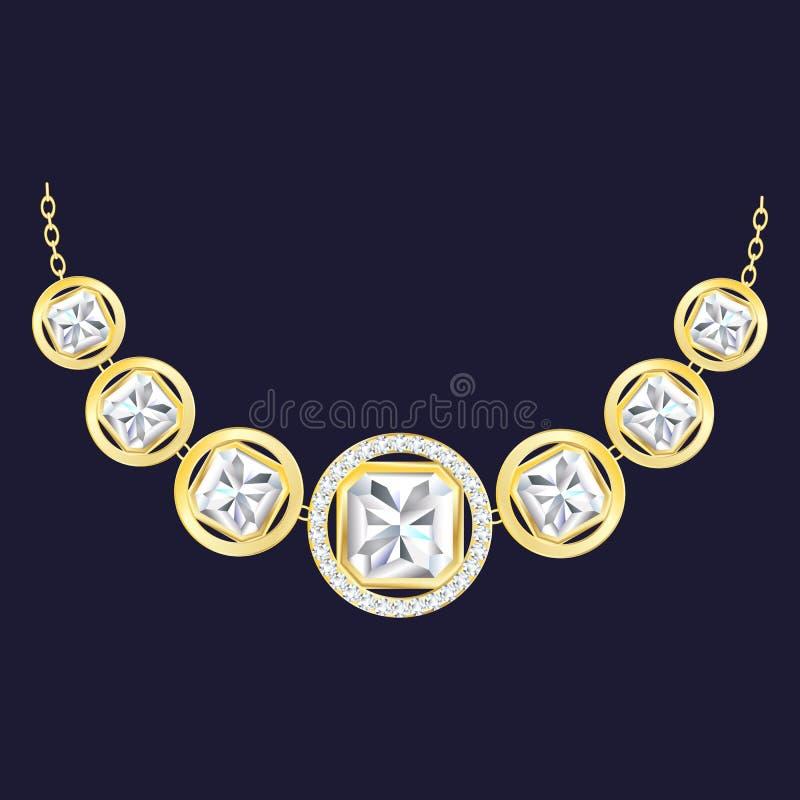 Golden diamond necklace icon, realistic style royalty free illustration
