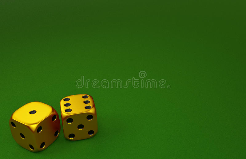 Golden Dice. On Green gaming table vector illustration