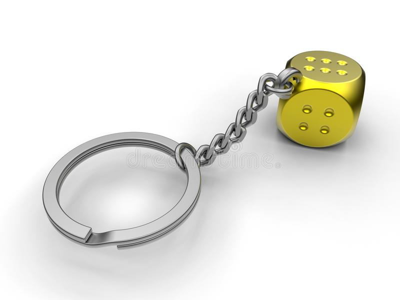 Golden dice on a key chain. 3D render illustration of a golden dice attached to a key chain. The composition is isolated on a white background with shadows vector illustration