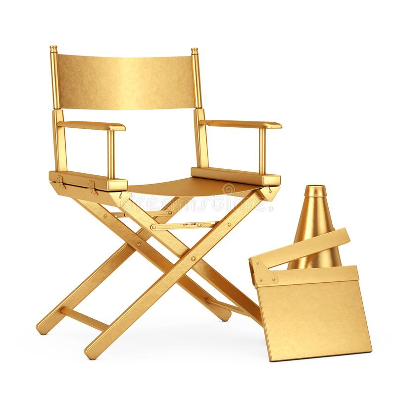 Golden Director Chair, Movie Clapper and Megaphone. 3d Rendering royalty free illustration