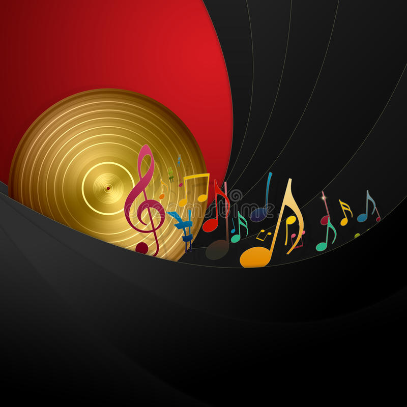 Golden Disc and Music Notes royalty free illustration