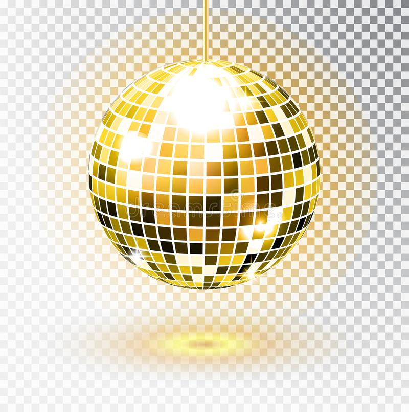 Golden disco ball. Vector illustration. Isolated. Night Club party light element. Bright mirror silver ball design for disco dance. Club. Vector vector illustration