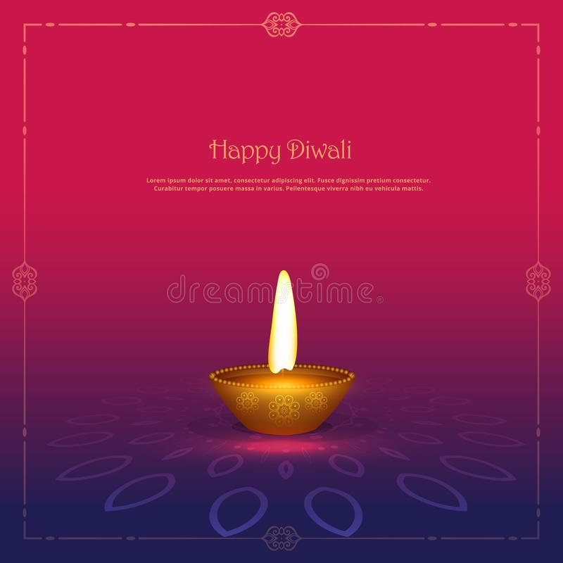 Golden diya diya lamp on beautiful background vector illustration