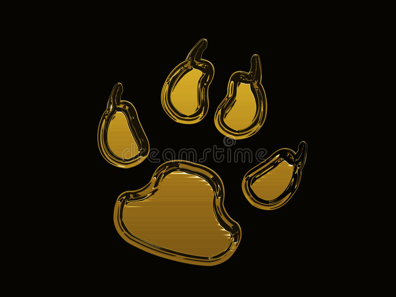 Golden dog footprint vector illustration