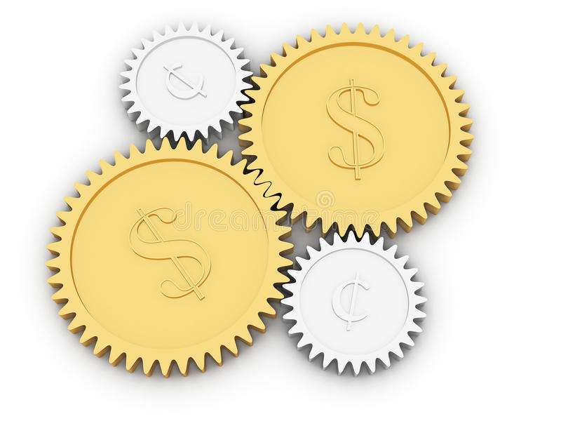Golden dollar and cent gears on white. Background. High resolution 3D image rendered with soft shadows vector illustration