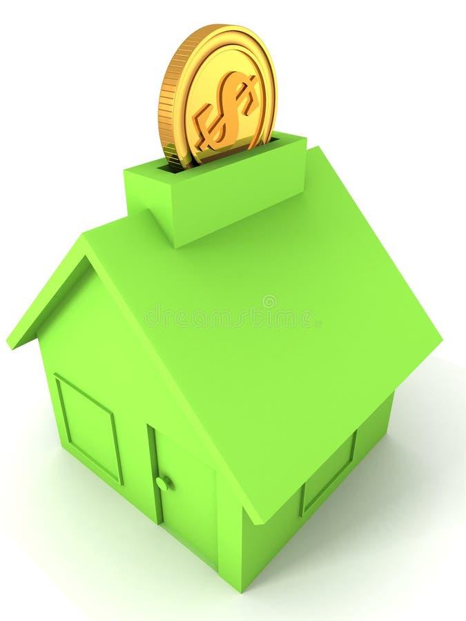 Golden dollar coin into green moneybox house