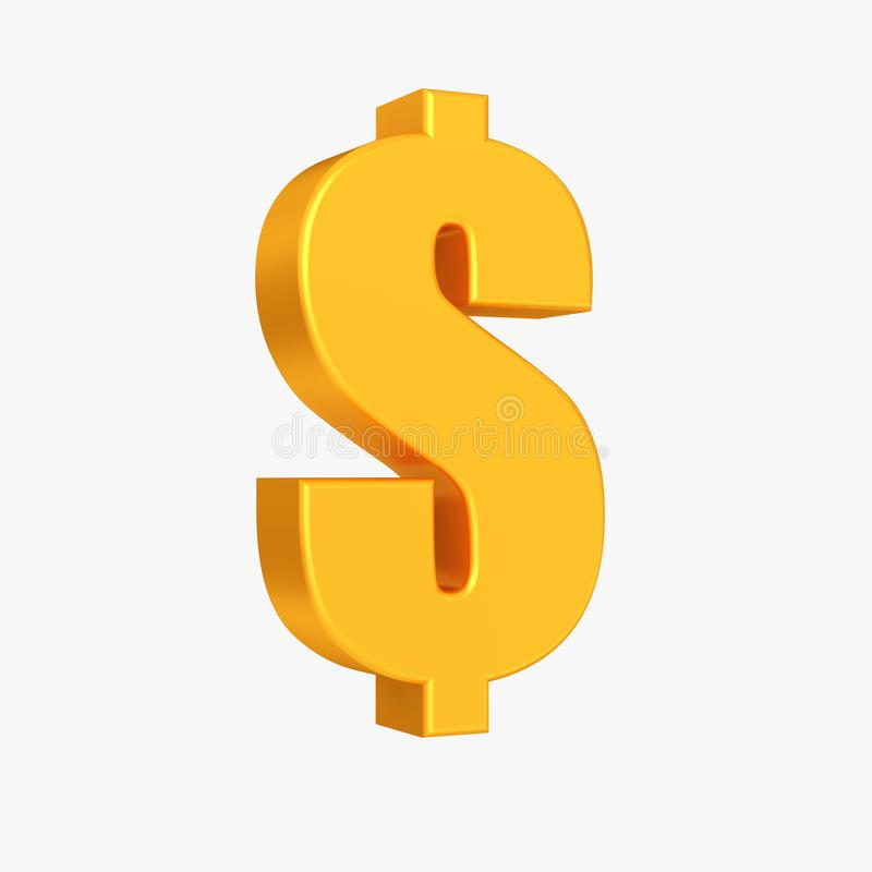 Golden dollar currency symbol, Business and finance 3d illustration isolated on the white background royalty free stock photos