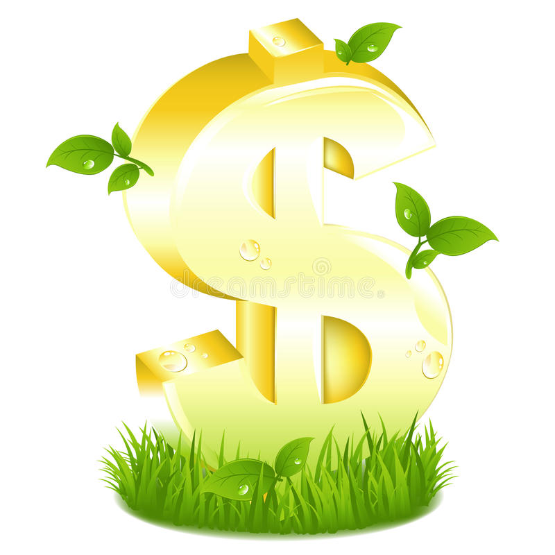 Download Golden Dollar Sign With Green. Vector Stock Vector - Image: 14053735