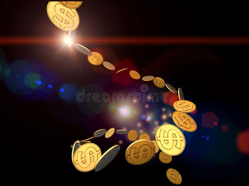 Download Golden Dollar Stream stock image. Image of movement, rich - 21829675