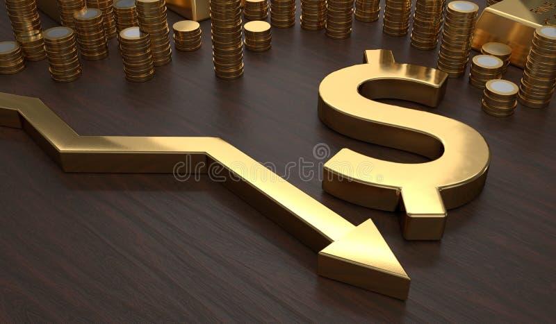 Golden dollar symbol and arrow down. 3D rendered illustration.  vector illustration