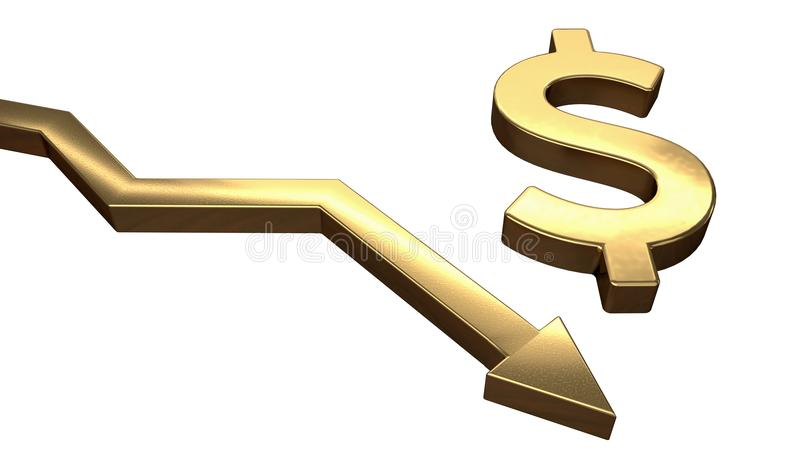 Golden dollar symbol and arrow down. Isolated on white background. 3D rendered illustration.  royalty free illustration