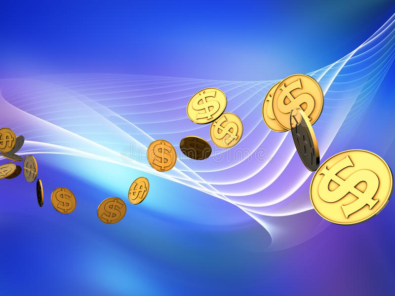 Golden Dollar Wave Stock Images