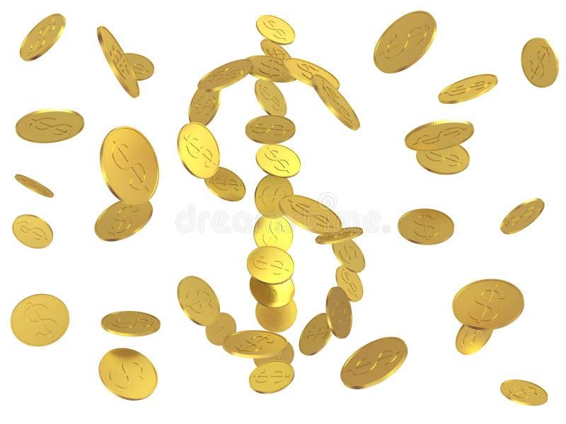 Download Golden dollars stock illustration. Image of currency, rain - 9051265