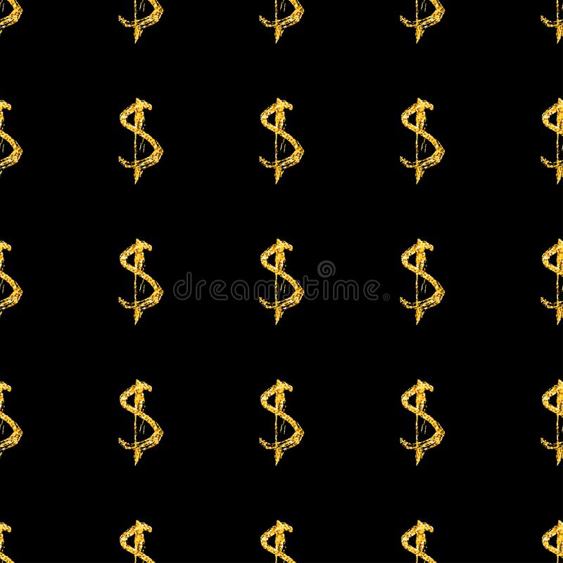 Golden dollars seamless pattern background. Template for a business card, banner, poster, notebook, invitation with. Modern hand drawn grunge calligraphy vector illustration