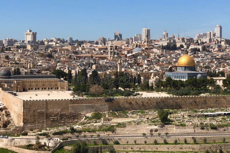 Golden Dome утеса на Temple Mount в городе Иерусалима старом, Израиле стоковое фото
