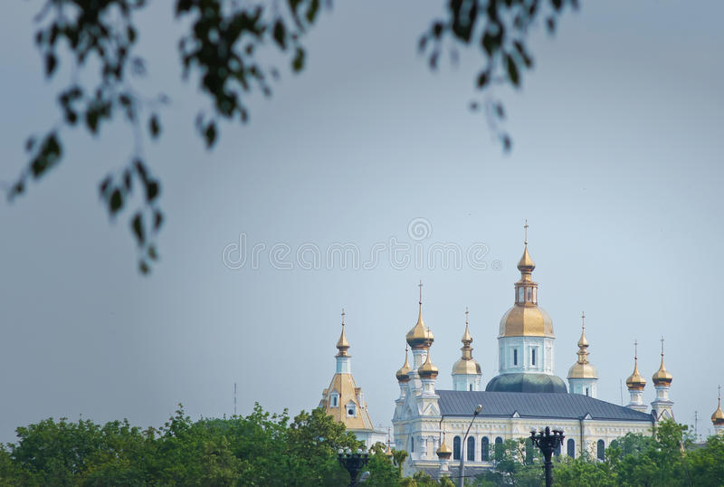 Golden Dome Church. On background blue sky stock images