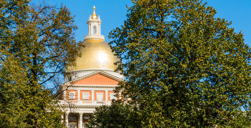 Golden Dome de la Chambre d'état du Massachusetts images libres de droits