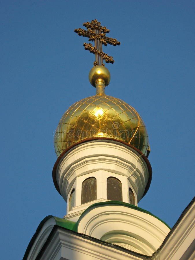Golden dome of the orthodox church stock photos