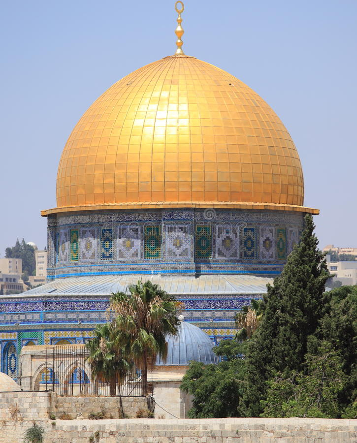 The Golden Dome of the Rock, Jerusalem. View of the golden Dome of the Rock on the Temple Mount in Jerusalem, Israel. The Dome of the Rock, one of the oldest royalty free stock photos