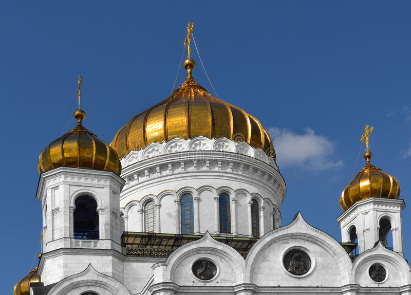 Golden domes of Cathedral of Christ Savior. Moscow royalty free stock image