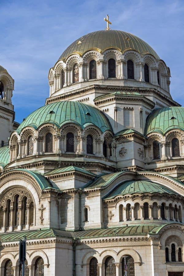 Golden Domes of Cathedral Saint Alexander Nevski in Sofia, Bulgaria. Sofia, Bulgaria - November 7, 2017: Golden Domes of Cathedral Saint Alexander Nevski in royalty free stock images