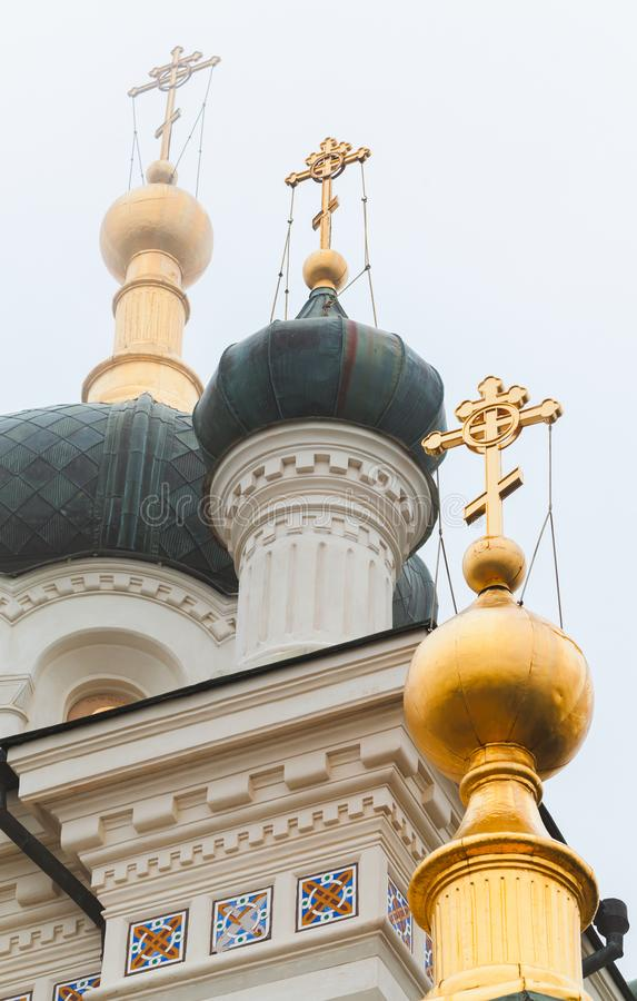 Golden domes of the Church of Christs Resurrection royalty free stock images