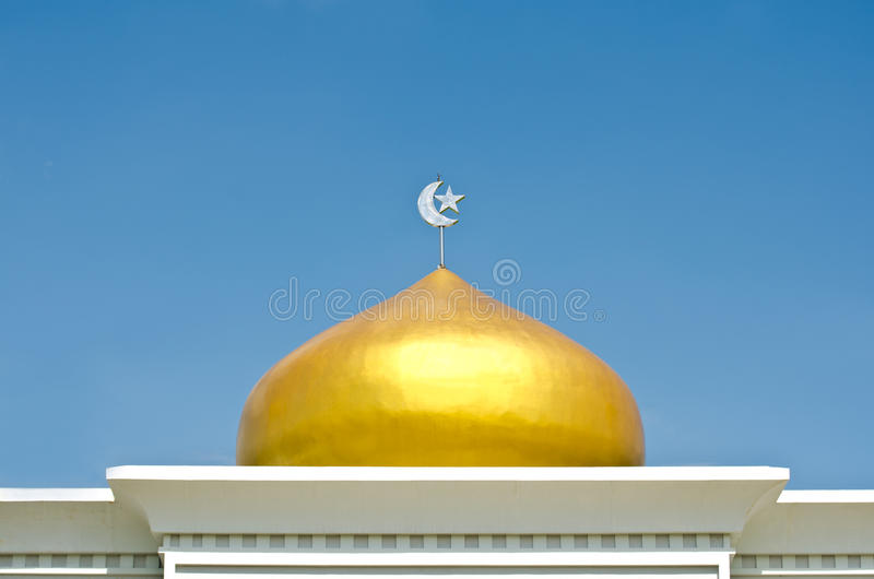 The golden domes of Islamic s. Stars and a month on The golden domes of Islamic symbols royalty free stock images