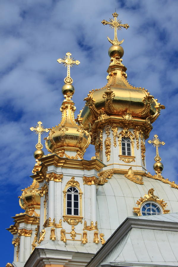 Golden domes at Peterhof Palace stock image