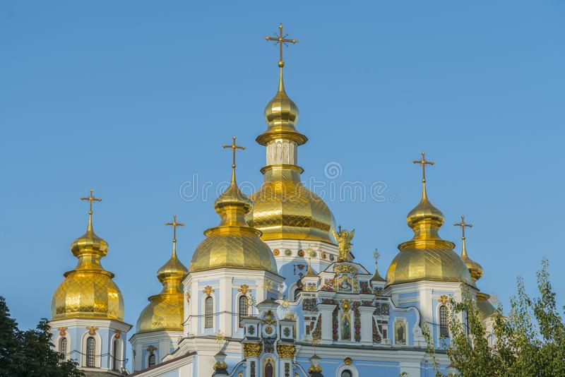 Golden domes of St. Michael Cathedral in Kiev, Ukraine. St. Michael's Golden-Domed Monastery - famous church complex in Kiev, Ukr royalty free stock images