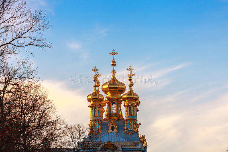 Golden domes, Tsarskoye Selo. Saint-Petersburg, Russia royalty free stock image