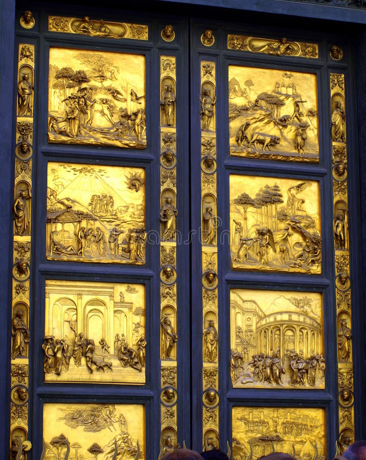 Golden door on Florence Baptistery Tuscany Italy royalty free stock images