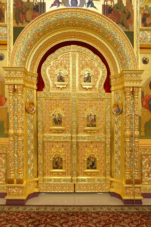Golden door of the russian orthodox church. bari, italy royalty free stock photography