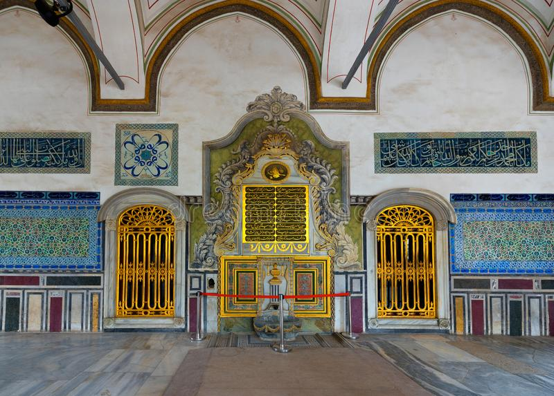 Golden doors in Topkapi palace interior, Istanbul,Turkey royalty free stock photography
