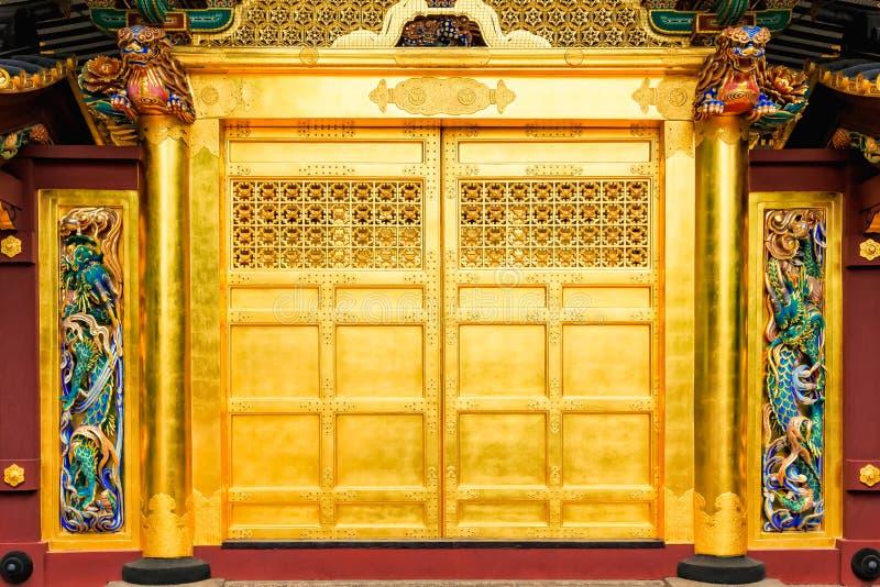 Golden doors of Toshogu shrine famous temple in Ueno Park in Tokyo, Japan. stock photo