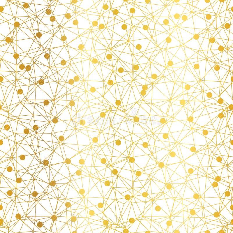 Golden dots network vector seamless pattern. vector illustration
