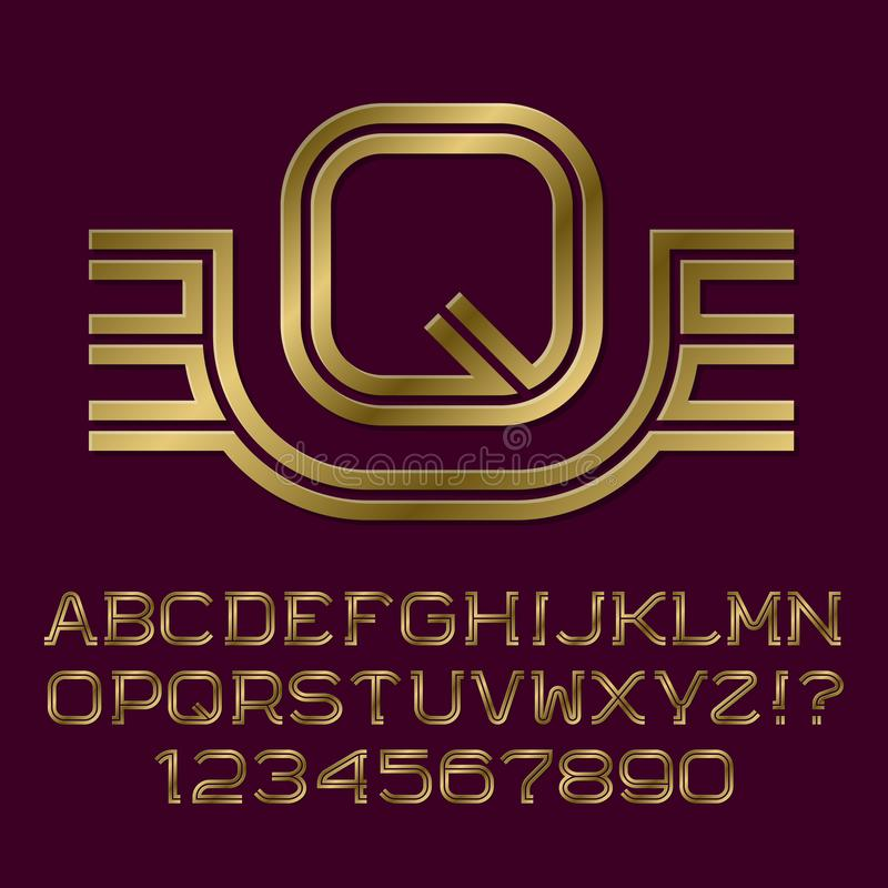 Golden double line letters and numbers with initial monogram vector illustration