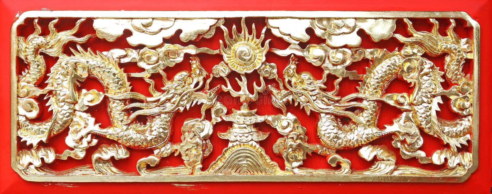 Golden dragon(Chinese: Long) wood carving royalty free stock images